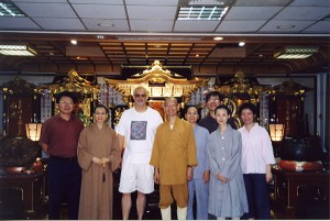 With students at Hua-Yen Buddhist Temple, Taiwan